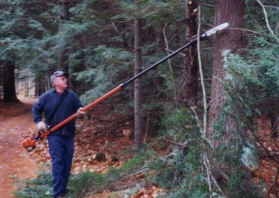 Jim Minard playing with the pole saw
